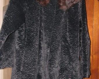 Vintage Persian Lamb 3/4 sleeve jacket with fur collar