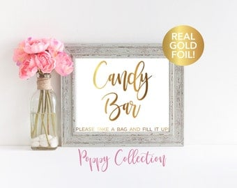 Candy Bar Sign, Wedding Signs, Reception Decor, Wedding Favors, Signs, Real Gold Foil, Wedding Candy, Wedding Signs, Decorations