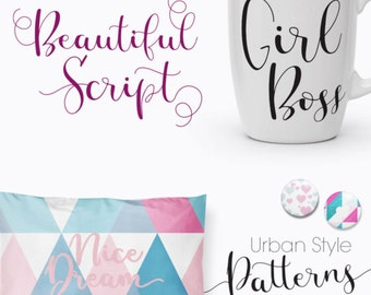 MissDaisy Fonts Patterns+Freebie Digital Download Calligraphy Font