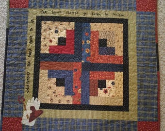 Handmade Country Primitive Log Cabin Block Small Quilt