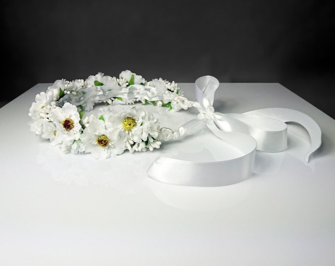 Wedding first communion CROWN/WREATH artificial silk cherry flowers satin ribbon delicate for bride bridesmaid flower girl lovely delicate