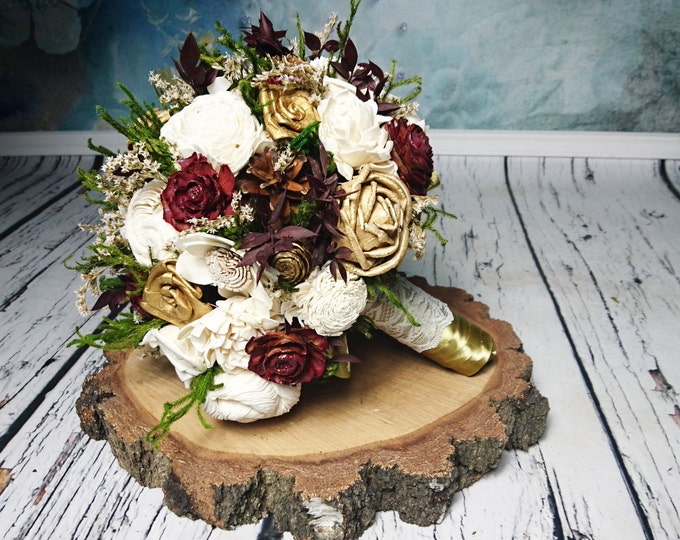 BIG ivory burgundy wine gold green rustic elegant autumn fall winter woodland wedding BOUQUET sola flower pine cone cedar rose satin ribbon
