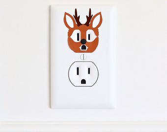 Deer - Electric Outlet Wall Art Sticker Decal