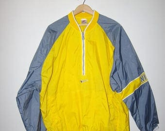 90's NIKE WINDBREAKER PULLOVER yellow / gray striped sleeves jacket size extra large