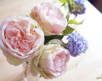 Blush Pink and Green Cabbage Rose – silk flower – artificial flower – flower headpiece – wedding décor – wedding bouquet (FB32-1)