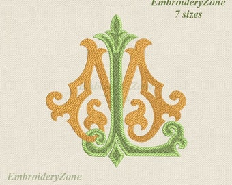 Double antique monograms from old books L & M Machine embroidery designs LM ML. 2 monogram L and M. Fonts L and M. Hoop 4x4 5x7 6x10 7 sizes