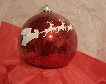 Sprint car Santa sleigh Christmas ornament