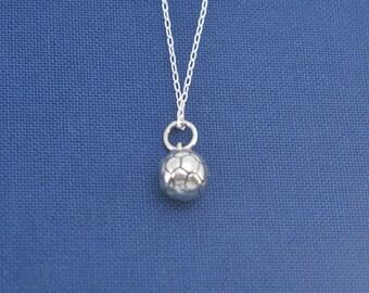 """Little girl's soccer necklace in sterling silver on a 14"""" inch sterling silver chain.  Little girl necklace.  Little girl gift."""