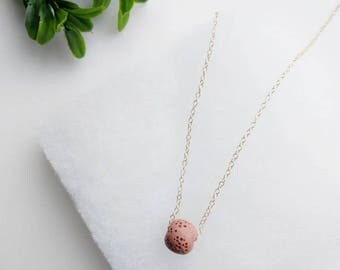 Gold Filled Blush lava rock necklace, essential oil diffuser, Diffuser Necklace, Lava Rock Necklace, Gold Necklace, Layering Jewelry
