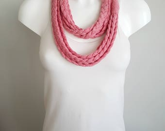 T-shirt scarf, pink scarf, pink necklace, t-shirt necklace, braided scarf, fabric scarf, fabric necklace