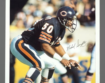 1980s Michael Mike Singletary Chicago Bears Player Poster 23 x 35 Vintage Poster