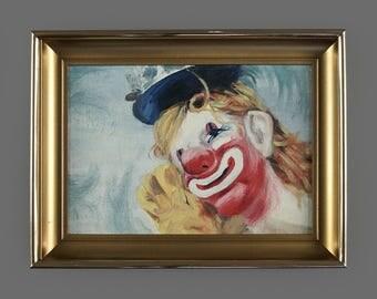 Vintage Clown Acrylic Miniature Painting 8 x 6 Circus Art