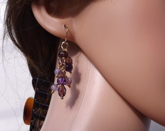 Purple and gold cluster earrings, fun earrings, amethyst earrings, purple jewellery, cluster drop earrings