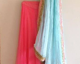 Mint green and pink sequin floral lehenga