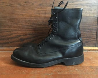 Vintage 1980s Mens Black Leather Steel Toe Military Army Jump COMBAT BOOTS Size 9.5 XW