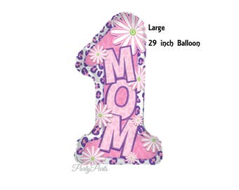 number 1 mom balloon, one, Mothers Day decorations, mom gift ideas, pink, flowers, gifts from children, daisies, best mother