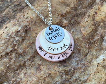 Isaiah 41:10 Necklace Fear not for I am with you, Copper, Brass, Aluminum, Hand Stamped Metal Stacked, Layered