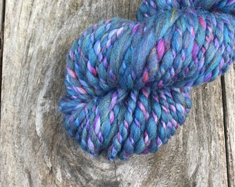 Handspun Yarn - Amethyst and Baltic Barber Pole - Merino Wool - Super Bulky - 42yd (38m) - Blue Purple Azure Cerulean Violet Mauve