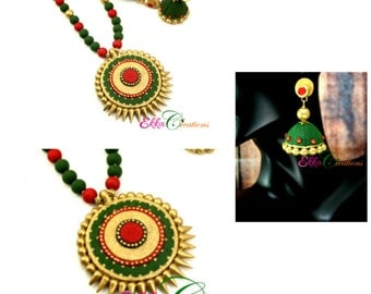 Indian jewelry/Kerala neck set/cream and antique gold neck set/jhumka earring/Terracotta neck set/polymer clay jewelry/bollywood jewelry
