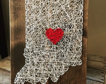MADE TO ORDER Custom String Art State Board with Heart
