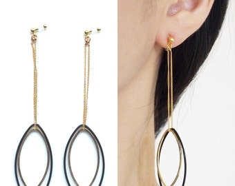 Black Invisible Clip On Earrings, Gold Clip On Earrings, Dangle Clip On Hoop Earrings, Long Chain Clip Earrings, Comfy Non Pierced Earrings