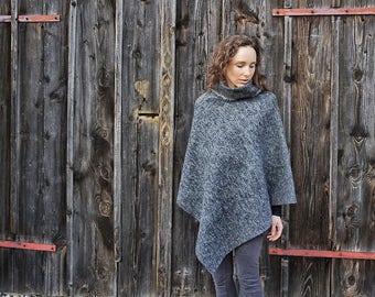 Womens-Poncho-winter I Grey-Poncho I Wool-Poncho I Wide-Neck-Poncho