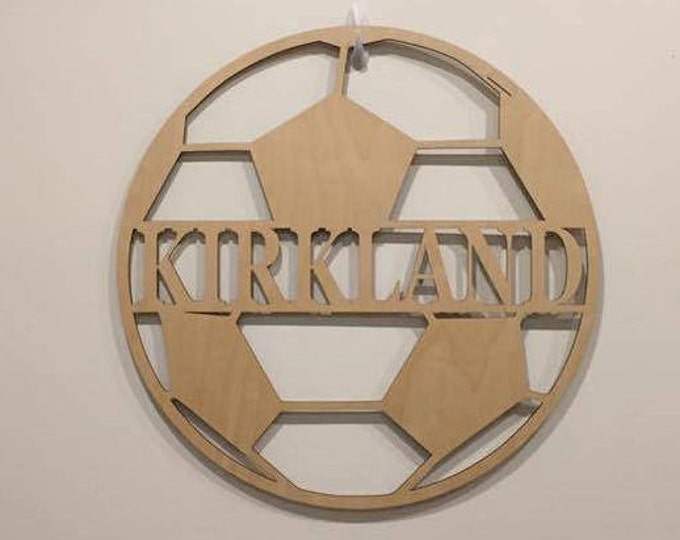 "12"" Wood Soccer Ball Last Name Team Name Laser Cutout Sport Shape Unfinished"