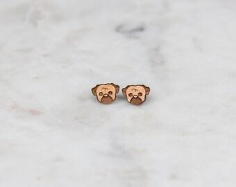 Wooden Dog Earrings - Stud Earrings - Gifts for Her - Dog Lover -  Lasercut - Wood Earrings