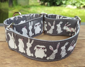"Martingale Collar - Whippet, and Small to Medium Dog - 1.5"" width - Bunnies"