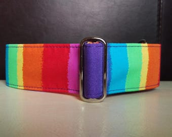 "Martingale Collar - Italian Greyhound, Whippet, Greyhound - 1"", 1.5"", 2"" width - Rainbow Stripes"