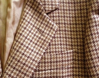 Brown Wool Houndstooth 2 Button Jacket Italy S