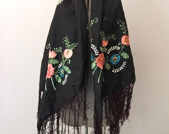 RESERVED FOR MAKAY - Embroidered Shawl Rebozo Black Satin Mexican