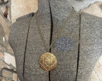 Gold Medallion Necklace Large Boho