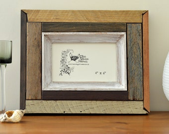 "Reclaimed wood photo frame: 'Cinnamon' (4""x 6"")"