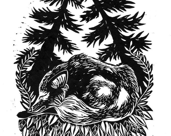 Fox Cub Sleeping - Original Linocut Illustration Print A4 Foxes Cute Nature