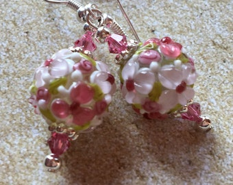 Beadwork, Lampwork Flower Earrings, Lampwork Floral Earrings, Glass Earrings, Statement Earrings, Lampwork Earrings, Glass Earrings