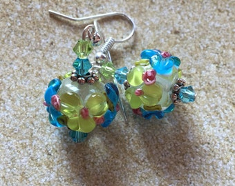 Dangle Earrings, Blue Flower Earrings, Lampwork, Glass Earrings, Lampwork Jewelry, Summer Earrings, Summer Jewelry