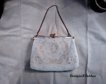 vintage, WHITE BEADED PURSE, Mid-Century, bridal, accessories, purse, clutch, bag, handbag, collectibles