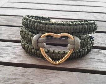 Green heart bracelet, Gold heart bracelet, macrame bracelet, heart wrap bracelet, friendship bracelet, Triple Wrap Bracelet, Gift for her