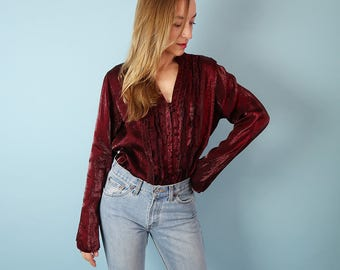 Vintage Iridescent Burgundy Blouse with Ruffles!