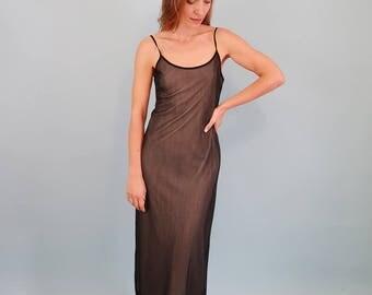90s Vintage Black Mesh Maxi Goth Dress
