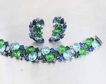 Wide Rhinestone Bracelet Earring Set, Blue, Green Rhinestones 1950's Jewelry Demi Parure, Bridal Wedding Jewelry, Clip On Ear Climbers