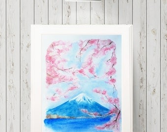 Mount Fuji in spring Cherry blossoms  Original Watercolour painting Original artwork Fine art Wall art Japanese art Home decor