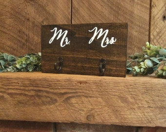 Key hanger, key hook, towel hook, towel hanger, rustic wall decor, rustic home decor, mr and mrs hooks, his and hers hooks, wedding gift
