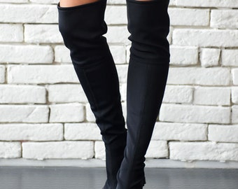 Long Black Boots/Sexy Over the Knee Boots/Extravagant Neoprene and Leather Wedges/Black Platform Shoes/High Heel Pumps/Comfortable Shoes