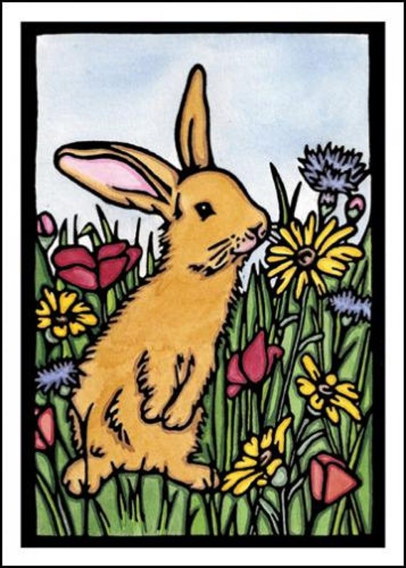 Bunny - Single Blank Sarah Angst Greeting Card - Easter Bunny in a Flower Field - Rabbit