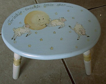 baby shower gift, twinkle, twinkle little star step stool, oval step stool, painted kids stool