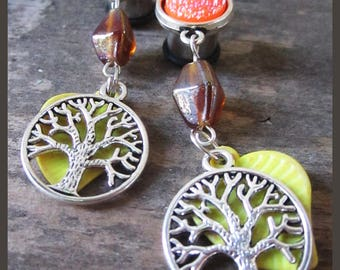 Earth's Melting Pot tree lava EAR PLUGS dangle stretched earrings you pick gauge size 4g, 2g, 0g, 00g AKA 5mm, 6mm, 8mm, 10mm