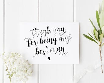 Thank You Best Man Card, Wedding Thank You Card, Card For Best Man, Calligraphy Best Man Card, Best Friend Wedding Card, Card For Best Mate