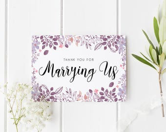 Floral Thank You Marrying Us Card, Thankyou Officiant Card, Thank You For Marrying Us, Card To Priest, Card To Judge, Thank You Officiant